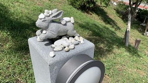 石が乗った兎