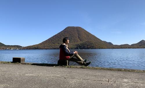 榛名富士でポーズ