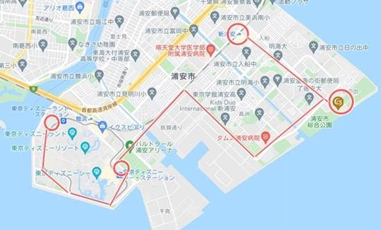 東京ベイ東急ホテルまでの地図